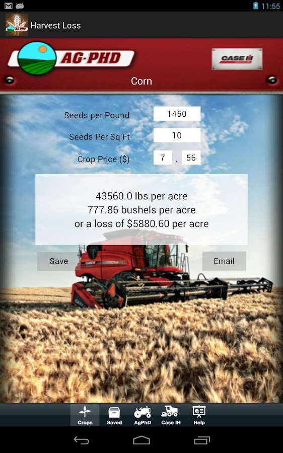 Harvest Loss Calculator - screenshot