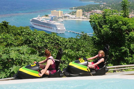 The Bobsled Jamaica tandem ride in Ocho Rios, inspired by the famed Jamaica bobsled Olympic team, is the signature attraction at Rainforest Adventures Mystic Mountain, near Dunn's River Falls.