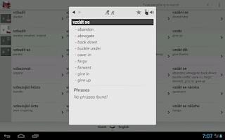 Screenshot of Free Dict Czech English