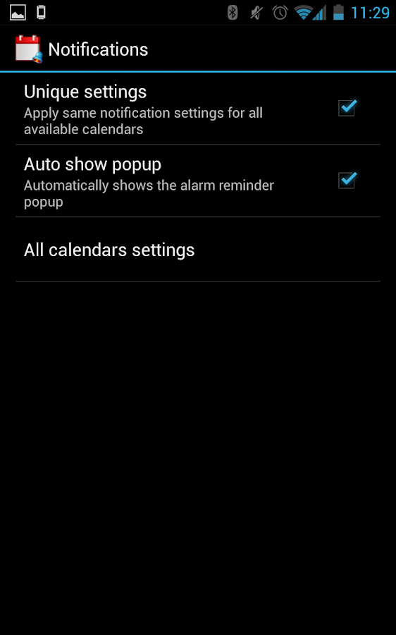 Calendar notifier - screenshot