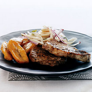 Jerk Pork Chops with Hearts of Palm Salad and Sweet Plantains.