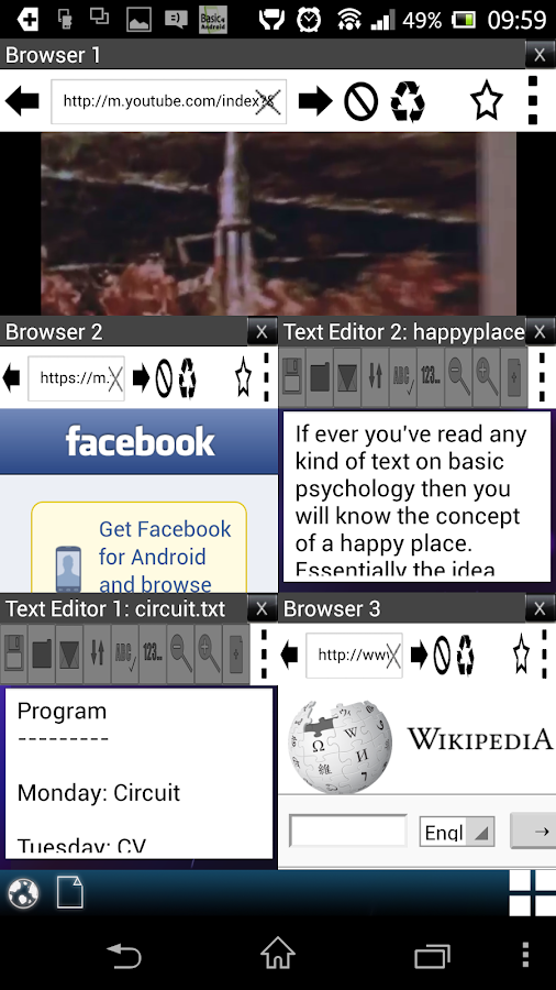 Multi Window Browser & Notepad - screenshot