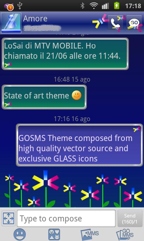 GOSMS Abstract Flowers Theme - screenshot