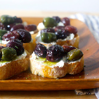 Roasted Grape and Olive Crostini.