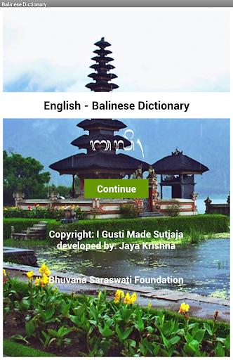 English - Balinese Dictionary