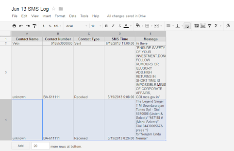 SMS To Spreadsheet- screenshot thumbnail