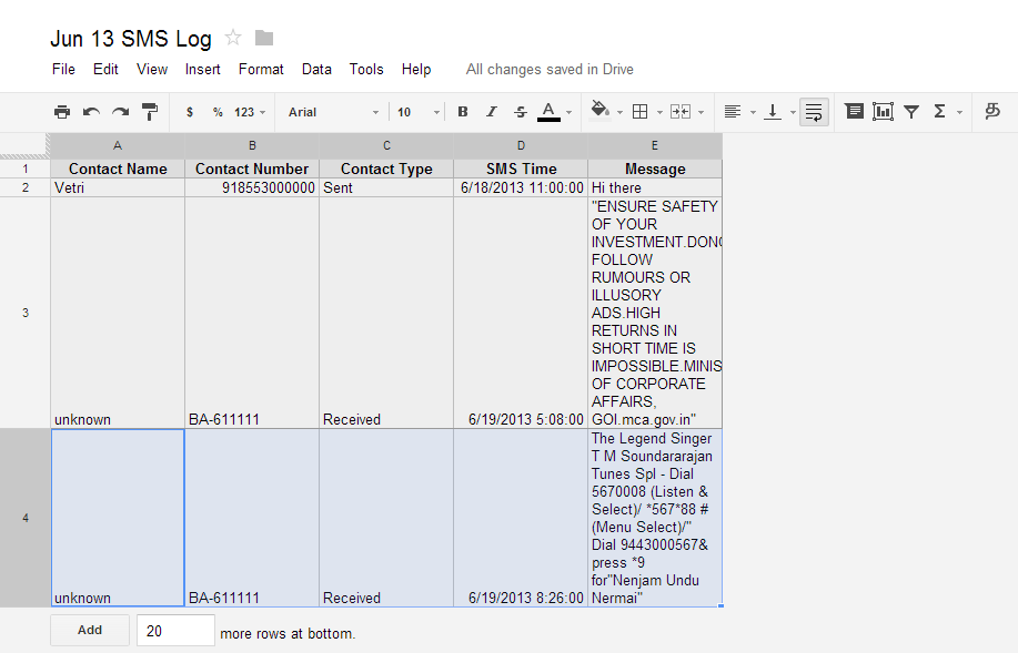 SMS To Spreadsheet- screenshot