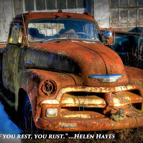 by Mike Roth - Typography Captioned Photos ( rust, old truck,  )