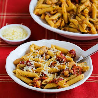 Meatless Penne Pasta with White Beans, Roasted Tomatoes, and Herbs.