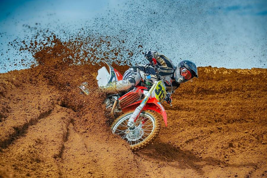 Berm Busting by Chris Richards - Sports & Fitness Motorsports ( motorb, motocro, moto, sport, motorcycle )