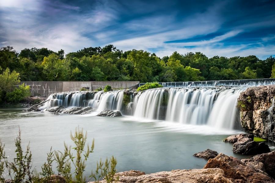 Grand Falls by Jeffery Roosa - Landscapes Waterscapes ( waterfalls, dam, creek, landscape, river )