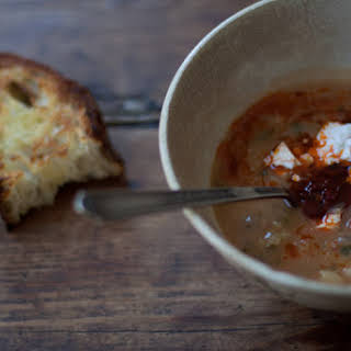 Dried Fava Soup with Mint and Guajillo Chiles.