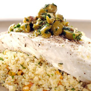 Steamed Halibut with Lemon Olive Quinoa Salad.