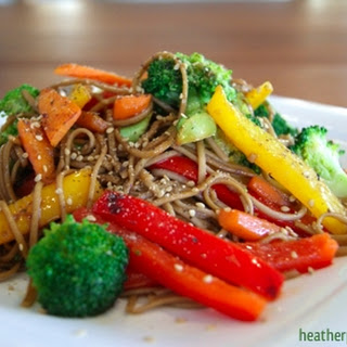 Colorful Veggie Stir Fry with Soba Noodles.