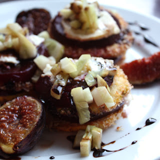 Roasted Beet and Summer Squash Salad with Figs, Chevre, Cucumber Relish and a Balsamic Reduction.