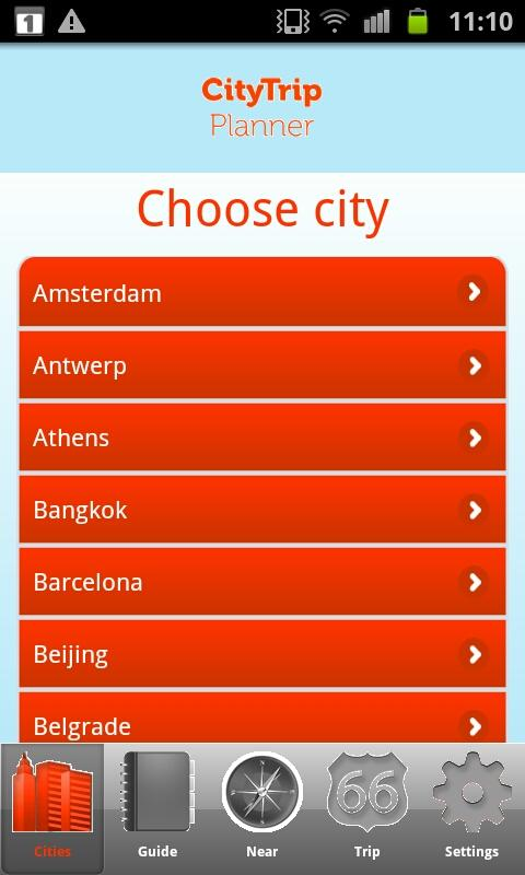 CityTrip Planner - screenshot