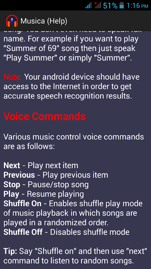 Musica Voice Control Player- screenshot