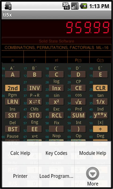 TI-58C/59 Calculator Emulator - screenshot