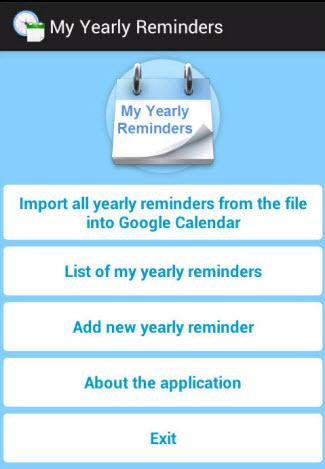 My Yearly Reminders- screenshot
