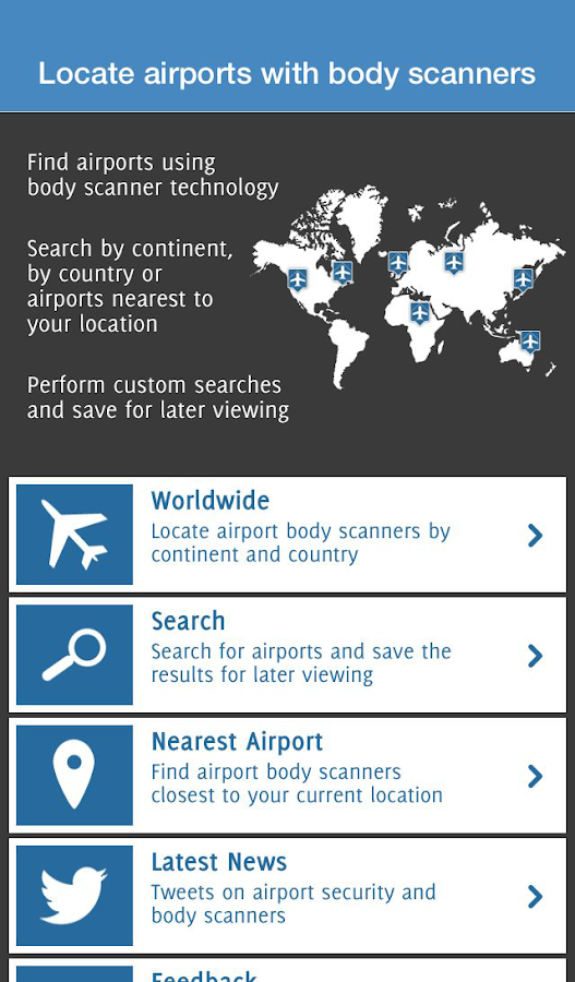 Airports with body scanners- screenshot