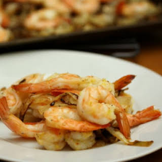 Roasted Lemon Shrimp with Mustard-Herb Onions.