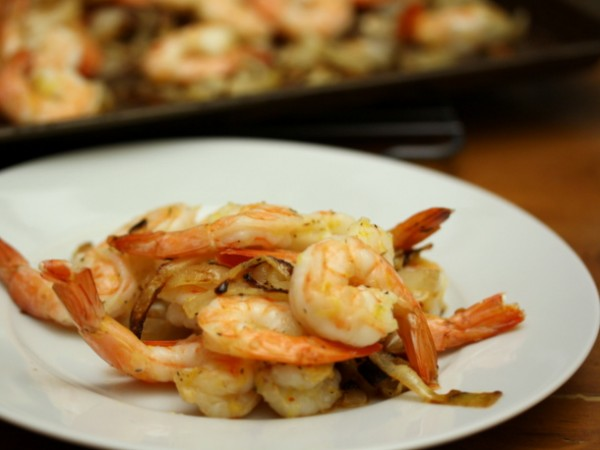 Roasted Lemon Shrimp with Mustard-Herb Onions Recipe