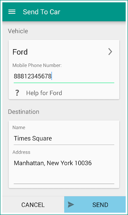 Send To Car - screenshot