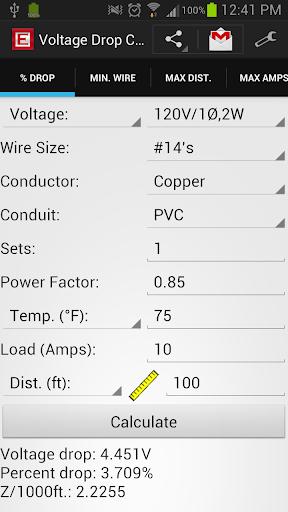 Voltage Drop Calculator Pro