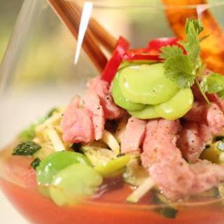 Gazpacho Met Gerookte Rosbief En Courgetsalade