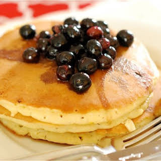 Lemon Cream Cheese Pancakes with Blueberry Maple Syrup.