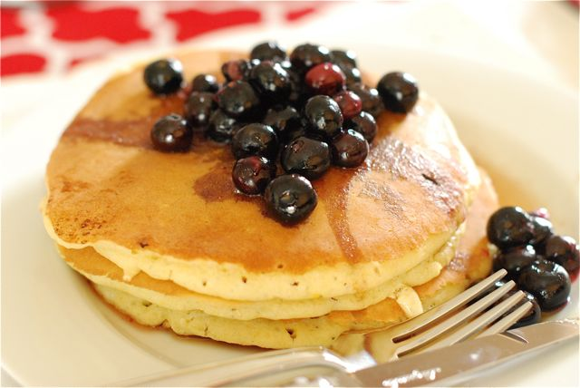 Lemon Cream Cheese Pancakes with Blueberry Maple Syrup Recipe