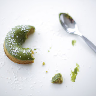 Matcha Green Tea Donuts With Shredded Coconut