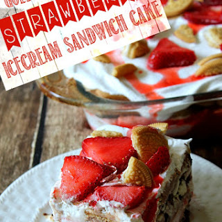 Golden Oreo Strawberry Ice Cream Sandwich Cake.