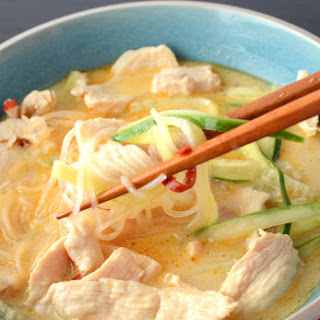 Lemongrass Chicken Noodle Soup with Cucumber.