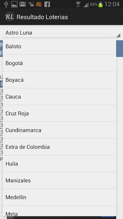 Resultado Loterias Colombia - screenshot