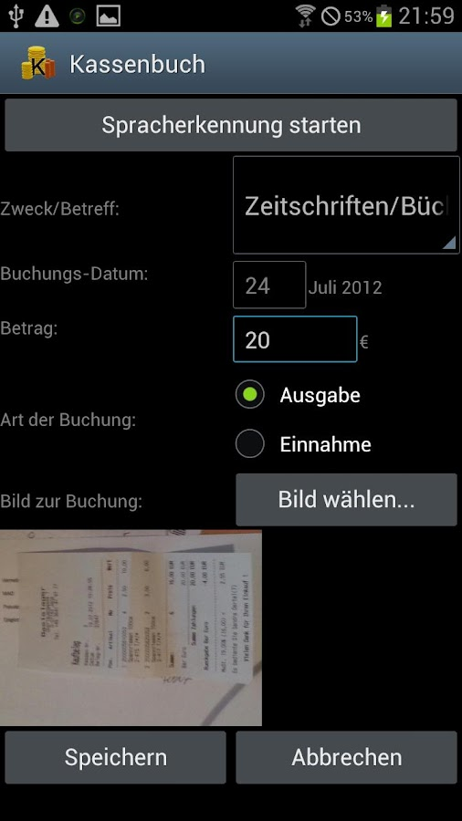 Kassenbuch Demo - screenshot